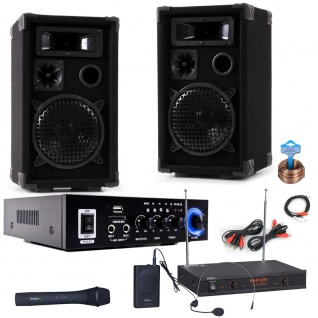 PA Party Karaoke Anlage Boxen Verstärker Bluetooth USB SD MP3 Funkmikrofon DJ-Compact 6