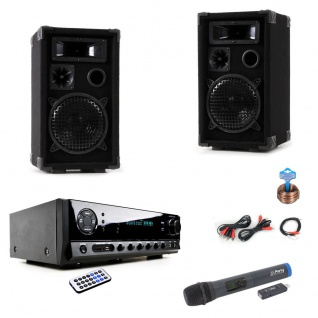 Party Karaoke Anlage Bluetooth USB MP3 Verstärker Funk Mikrofon System DJ-Black Star