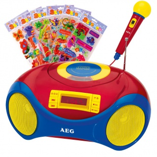 Tragbare Karaoke Kinder Stereo Anlage MP3 Radio USB CD Mikrofon im Set inklusive Kinder Sticker
