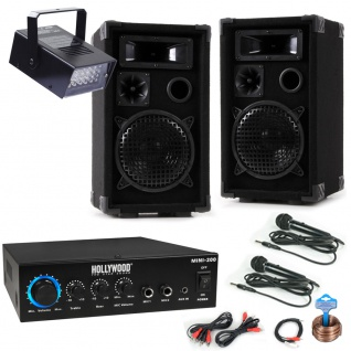 PA Party Kompakt Musik Anlage Boxen Bluetooth MP3 Verstärker Mikrofone Disco Strobe DJ-MINI 3 1