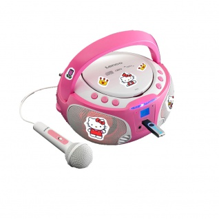 Mädchen Karaoke Stereo Anlage Mikrofon USB CD Player Kind Lichteffekt im Set inklusive Hello Kitty Sticker