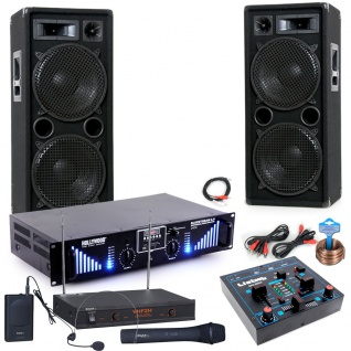 3000W PA Party Musik Anlage Boxen MP3 USB SD Bluetooth Endstufe Mixer Funk Mikro DJ-Blue 7
