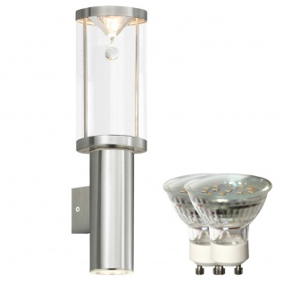 LED Wand Außen Lampe IP44 Glas Kristall UP & DOWN Beleuchtung Edelstahl