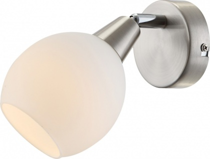 Traditionelle LED Strahler nickel matt Glas opal satiniert 3W - Globo ELLIOTT 54351-1