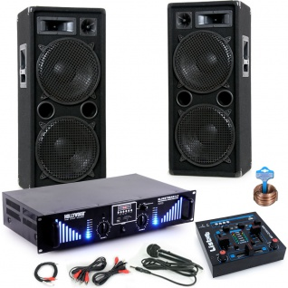 3000W DJ Set Boxen Bluetooth USB MP3 Verstärker Mixer Mikrofon Kabel DJ-170