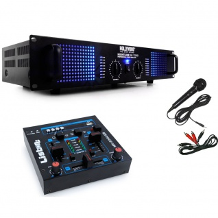 PA DJ 2400 Watt Verstärker USB MP3 Mixer Mischpult Cinch Kabel Mikrofon DJ-209