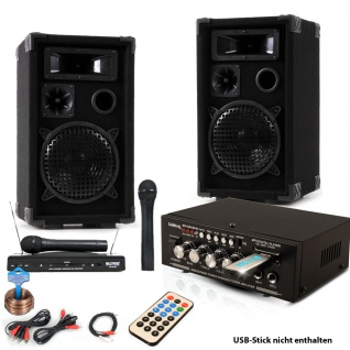 PA Party Musik Karaoke Anlage Boxen Funk Mikrofon Verstärker USB MP3 SD Bluetooth DJ-Future 2