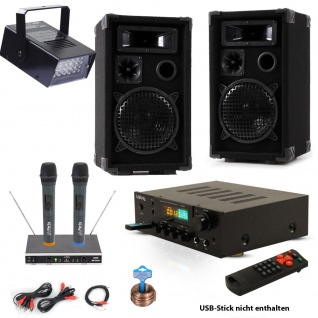 Karaoke Musik System USB SD MP3 Bluetooth Receiver LED Disco Strobe Funk Mikrofon DJ-Fun 4