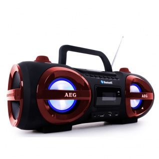 Stereoanlage Ghettoblaster CD MP3 Player Bluetooth USB SD AEG SR 4359 BT rot