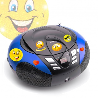 Tragbarer CD-Player UKW MW Radio Tuner MP3 USB im Set inklusive Smiley Sticker