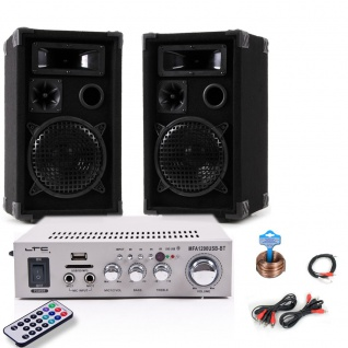 PA Party Kompakt Musikanlage Boxen Verstärker Bluetooth USB SD MP3 DJ-Compact 9