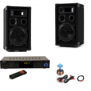 PA Party Musik Anlage Boxen USB SD MP3 Bluetooth Receiver Radio Tuner Fernbedienung DJ-Partyking