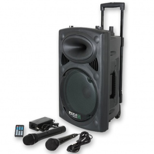 DJ PA 400W Karaoke Anlage mobile PA-Box Lautsprecher Bluetooth MP3 USB SD Ibiza PORT8VHF-BT