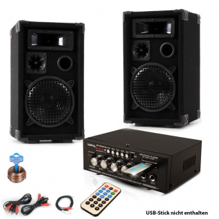 PA Party Kompakt Musikanlage Boxen Verstärker USB MP3 SD Bluetooth DJ-Future