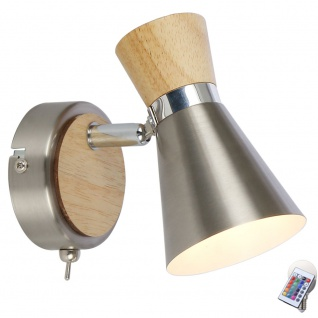Chrom Wand Lampe Arbeits Zimmer Fernbedienung Holz Strahler dimmbar im Set inkl RGB LED Leuchtmittel