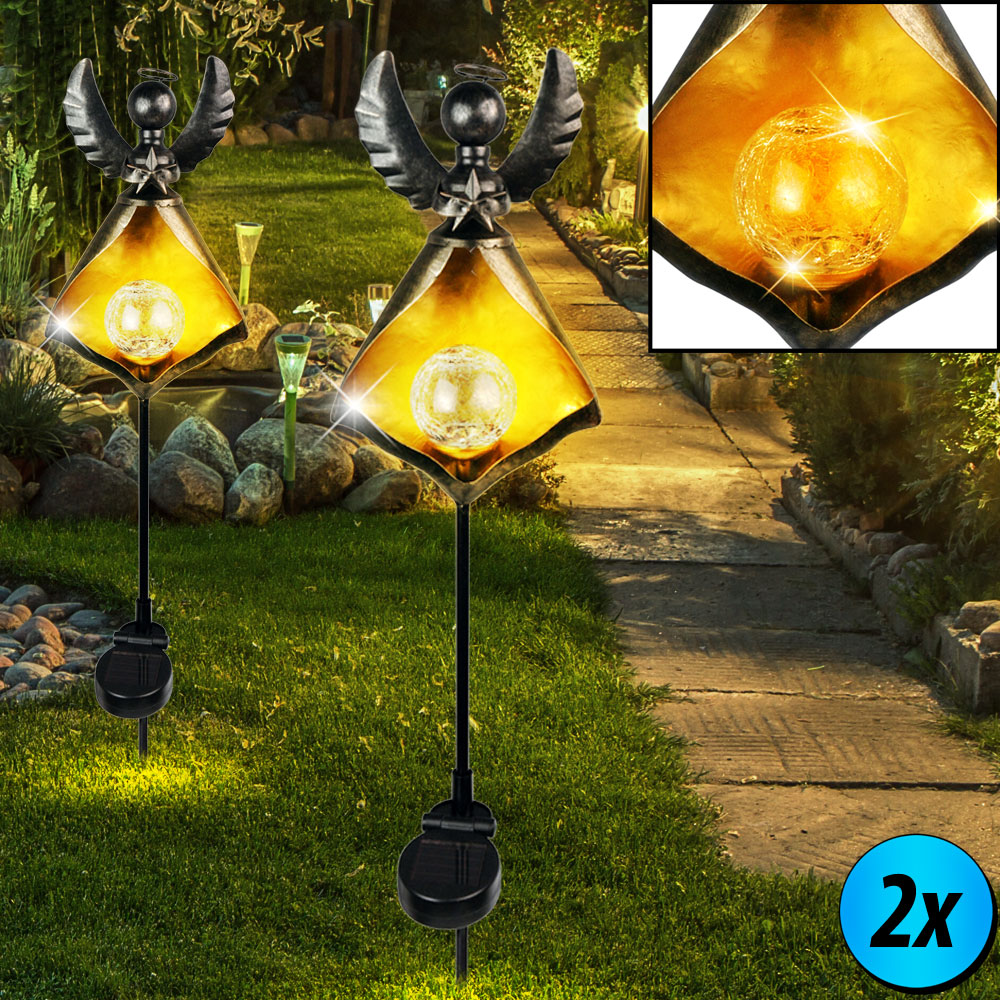 2er set led solar lampen engel steck figuren garten. Black Bedroom Furniture Sets. Home Design Ideas