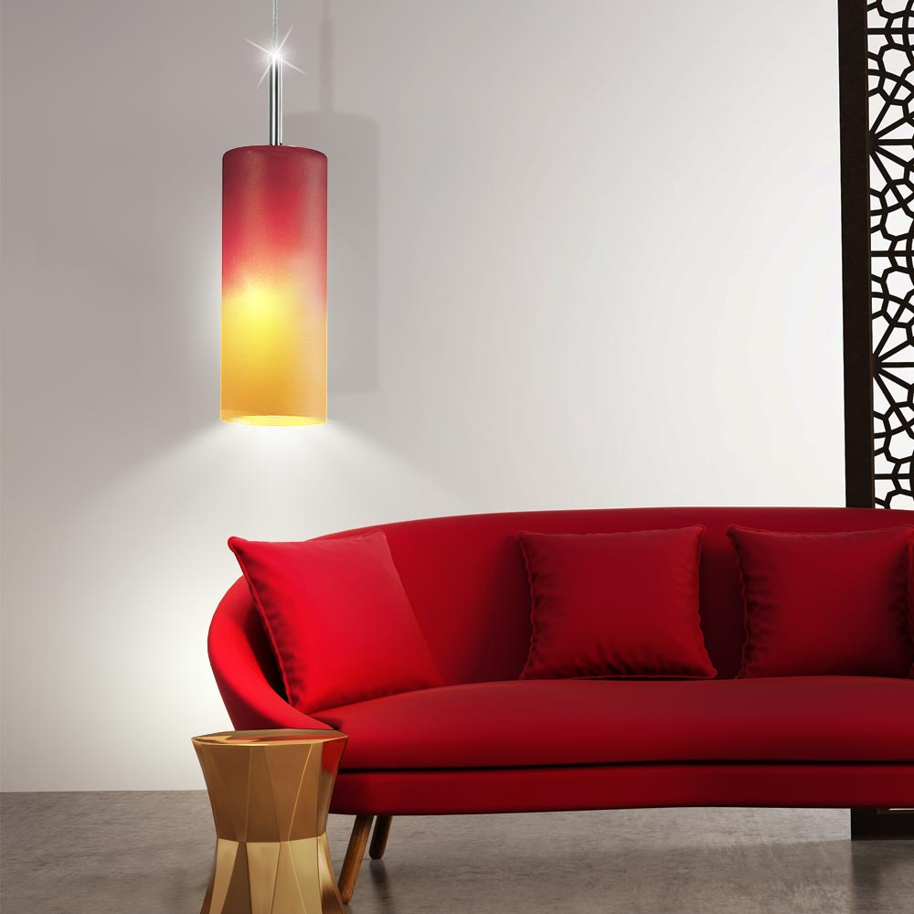 pendel leuchte fernbedienung h nge lampe glas rot orange im set inklusive rgb led leuchtmittel. Black Bedroom Furniture Sets. Home Design Ideas
