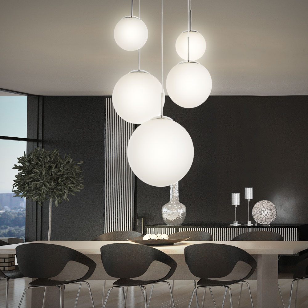h ngeleuchte h ngelampe pendelleuchte pendellampe 5 opal glas kugeln leuchte globo balla 1581 5. Black Bedroom Furniture Sets. Home Design Ideas