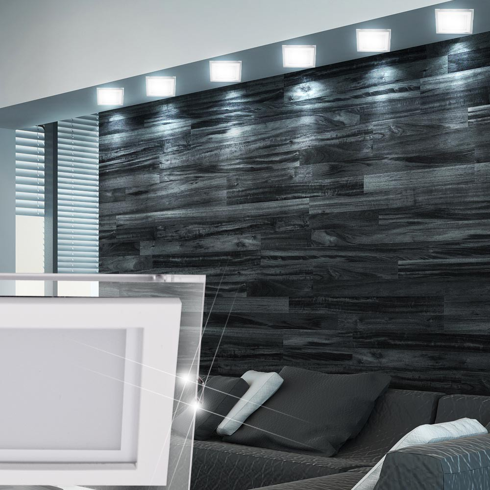 4er set led einbau spots silber wohn zimmer strahler. Black Bedroom Furniture Sets. Home Design Ideas
