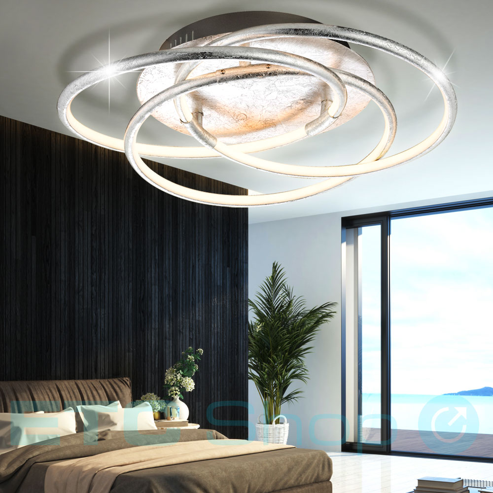led decken leuchte ring design wohn ess zimmer beleuchtung flur lampe silber globo 67828 30s. Black Bedroom Furniture Sets. Home Design Ideas