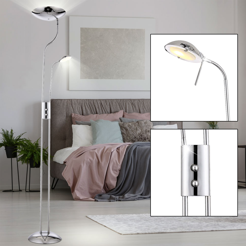 led deckenfluter chrom standleuchte wohnzimmer leselampe stehlampe lampe globo 59939 kaufen. Black Bedroom Furniture Sets. Home Design Ideas