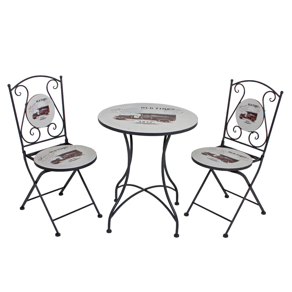 bistro tisch set retro design garten sitz m bel vintage. Black Bedroom Furniture Sets. Home Design Ideas