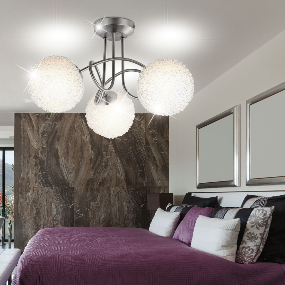 decken lampe wohnzimmer leuchte kugel nickel alugeflecht globo 63171 3 mitis kaufen bei www. Black Bedroom Furniture Sets. Home Design Ideas