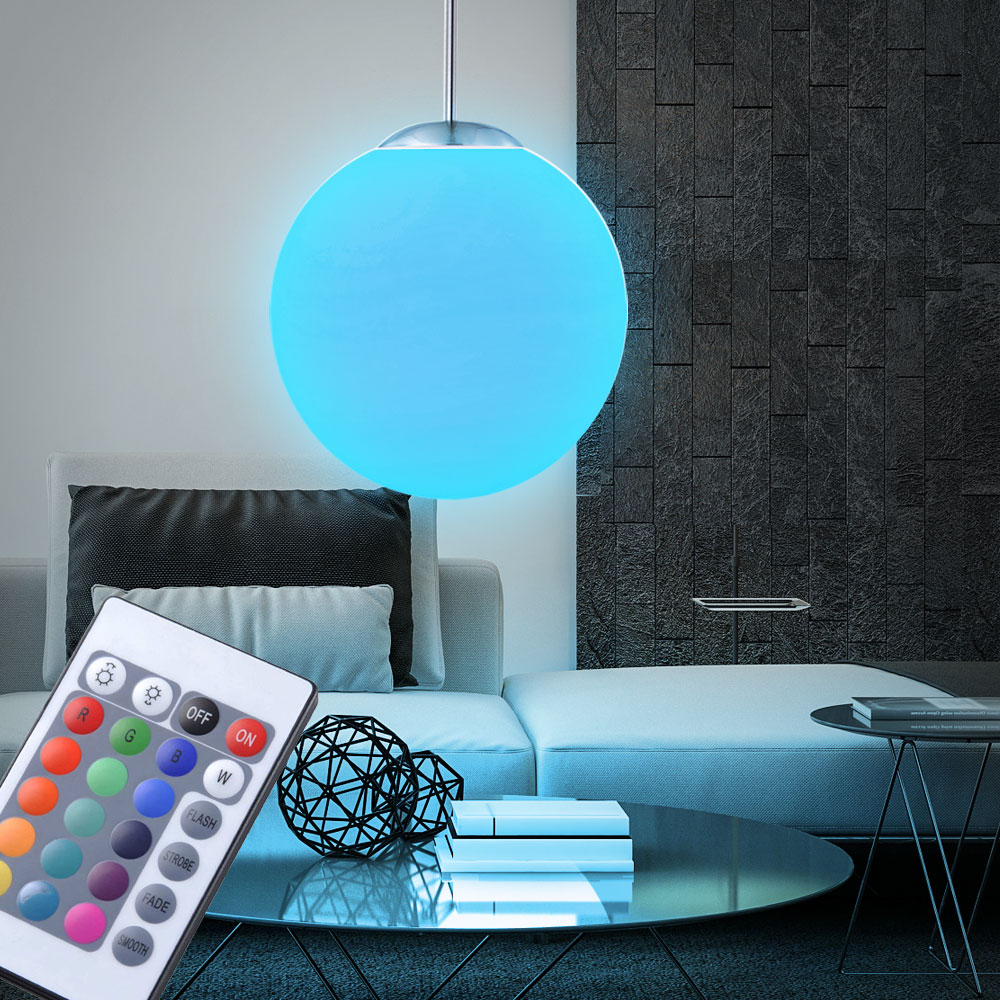 rgb led 7 watt h nge leuchte glas kugel satiniert pendel. Black Bedroom Furniture Sets. Home Design Ideas