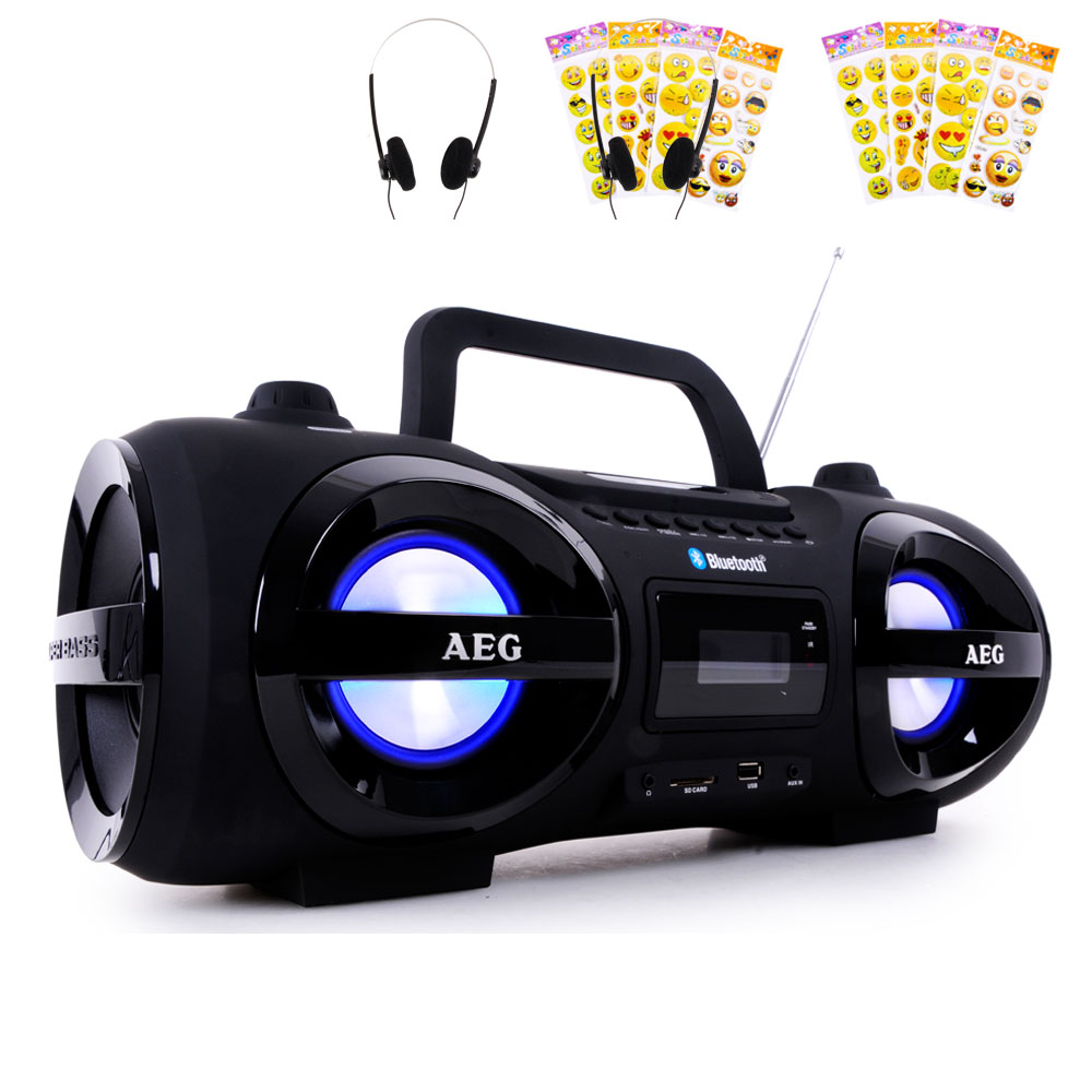 bluetooth cd player radio boombox party licht smiley. Black Bedroom Furniture Sets. Home Design Ideas