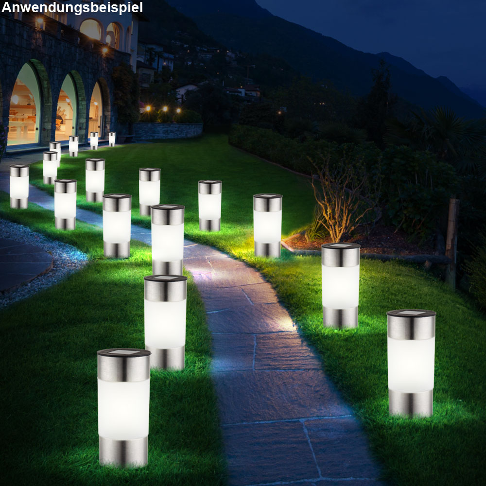 6er set led solar lampen edelstahl au en garten weg. Black Bedroom Furniture Sets. Home Design Ideas