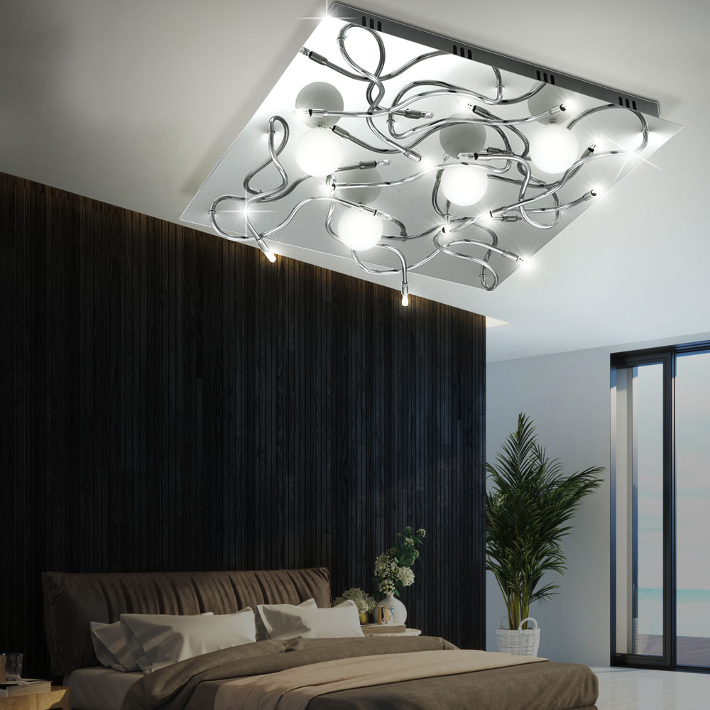 decken lampe leuchte chrom glas wohnzimmer beleuchtung. Black Bedroom Furniture Sets. Home Design Ideas