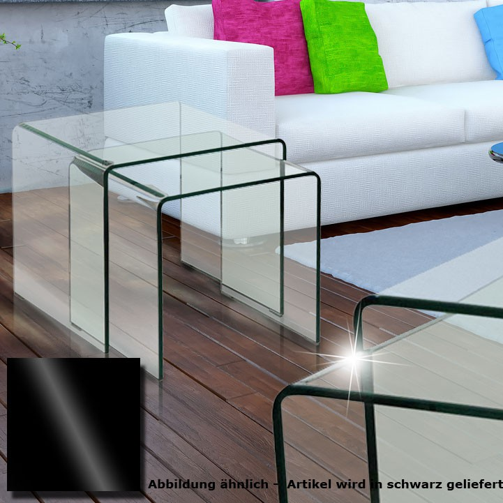 glastisch 2tlg ausziehbar wohnzimmer esszimmer k che glas schwarz tisch beistelltisch bhp alana. Black Bedroom Furniture Sets. Home Design Ideas