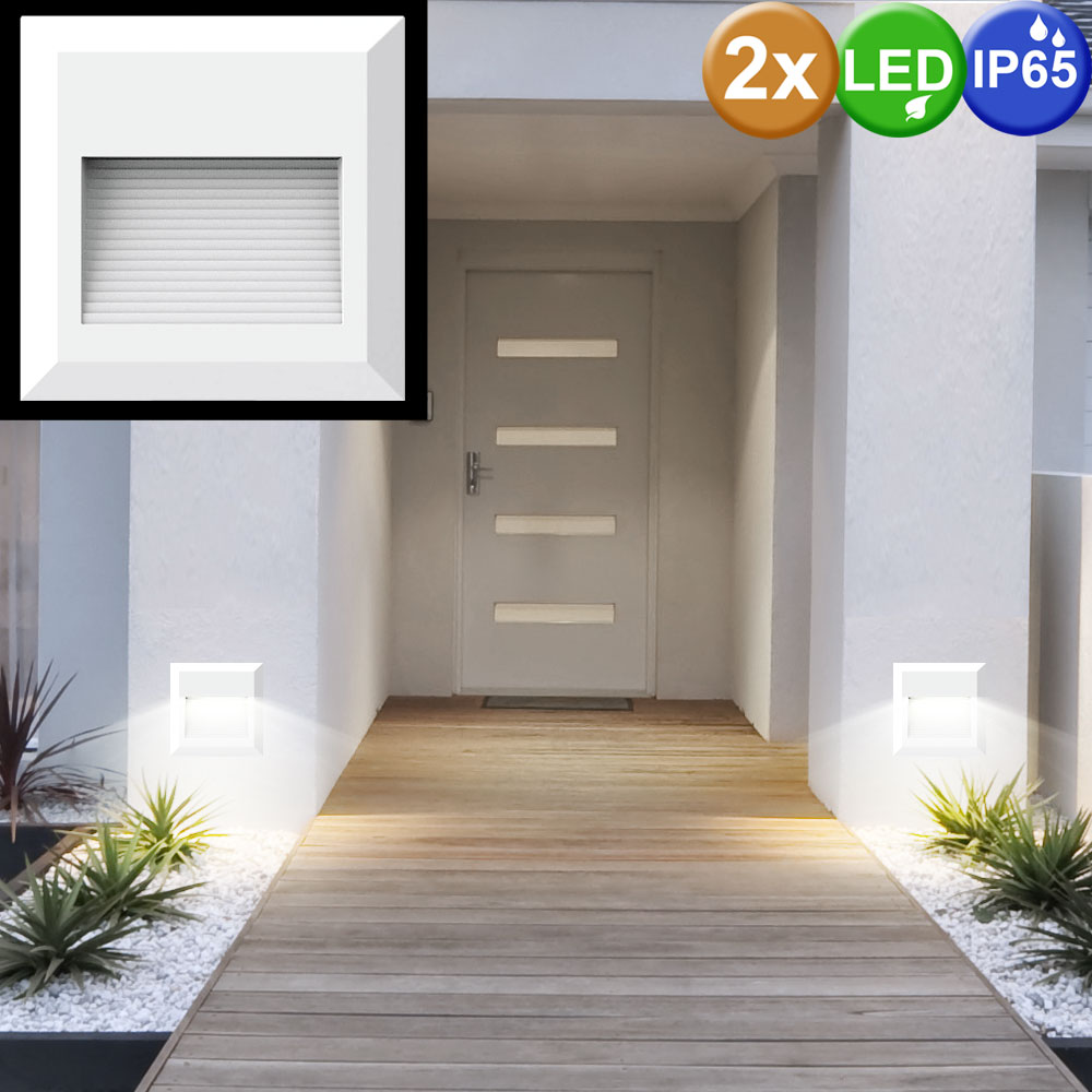 2er set led wand leuchten stufen beleuchtung au en treppen strahler aufgangs lampen wei vtac. Black Bedroom Furniture Sets. Home Design Ideas