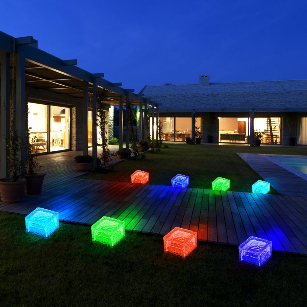 8er set rgb led solar lampen eis w rfel balkon au en beleuchtung garten weg glas stein leuchten. Black Bedroom Furniture Sets. Home Design Ideas