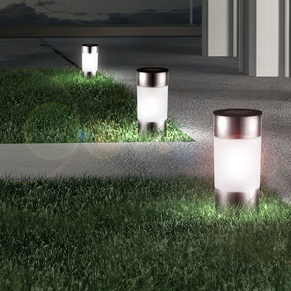 12 led solar lampen edelstahl au en garten weg. Black Bedroom Furniture Sets. Home Design Ideas