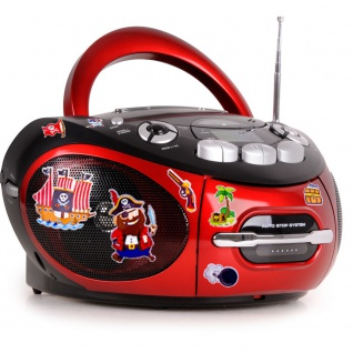 Tragbarer CD Player Kinder Radio Jungen Musik Stereo Anlage im Set inklusive Puffy Sticker