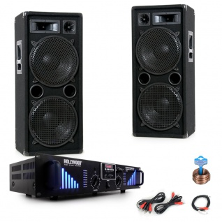 3000W PA Party Musikanlage Boxen USB SD MP3 Bluetooth Endstufe Kabel DJ-Black