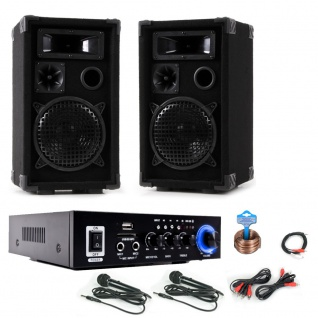 PA Karaoke Musikanlage Boxen Verstärker Bluetooth USB SD MP3 SD 2x Mikrofon DJ-Party 10