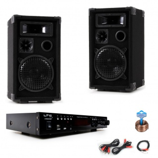 PA Party Kompakt Musikanlage Boxen Verstärker USB MP3 SD Bluetooth DJ-Compact 7