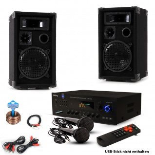 PA Party Kompakt Musikanlage PA Boxen Bluetooth USB SD MP3 Verstärker Kabel 2x Mikrofon DJ-Party 13