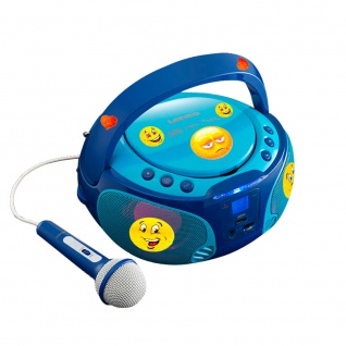 Kinder Musik Anlage blau Lichteffekt USB MP3 CD Player tragbar Karaoke Mikrofon inkl. Smiley Sticker