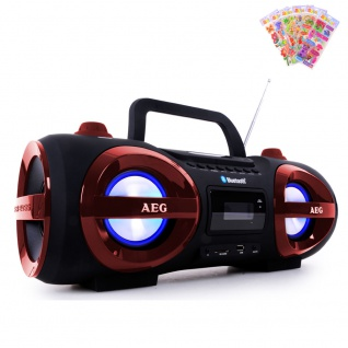 Stereoanlage Ghettoblaster CD MP3 Player Bluetooth USB SD mit Puffy Sticker