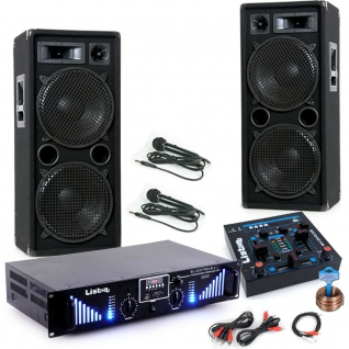 3000W PA Karaoke Party Musikanlage Boxen Bluetooth Endstufe USB MP3 Mixer Mikrofon DJ-Black 2