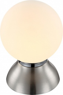 Traditionelle LED Tischleuchte nickel matt, chrom Glaskugel opal 4W - Globo KITTY 21928