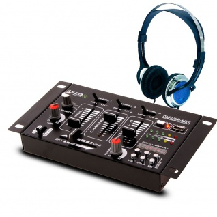 DJ 4-Kanal Mischpult PA Kompakt Effekt Mixer Kopfhörer Party Disco Equipment Audio Sound USB MP3