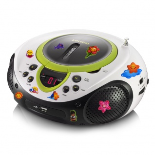 Tragbarer CD-Player MP3 USB Anschluss Radio Tuner AUX LED im Set inklusive Puffy Sticker