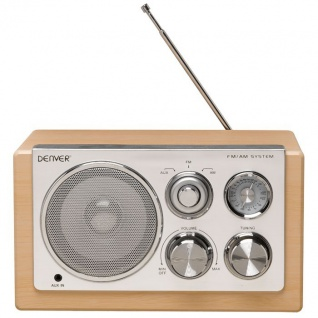 Designradio Holzdesign Radio Tuner AUX tragbar Batteriebetrieb Denver TR-61 Lightwood