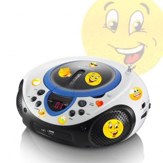 Tragbarer CD-Player MP3 USB Anschluss Radio Tuner AUX LED im Set inklusive Smiley Sticker
