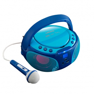 Kinder Karaoke Stereo Anlage tragbar Mikrofon USB MP3 Party CD Player Lichteffekt Lenco SCD-650 blau