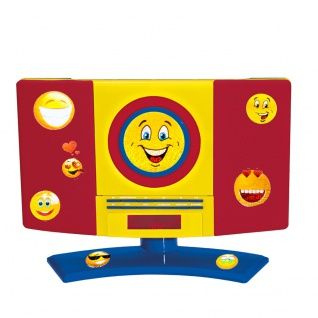 CD Radio Kinder Zimmer Wand MP3 Player Jungen Wecker bunt im Set inklusive Smiley Sticker